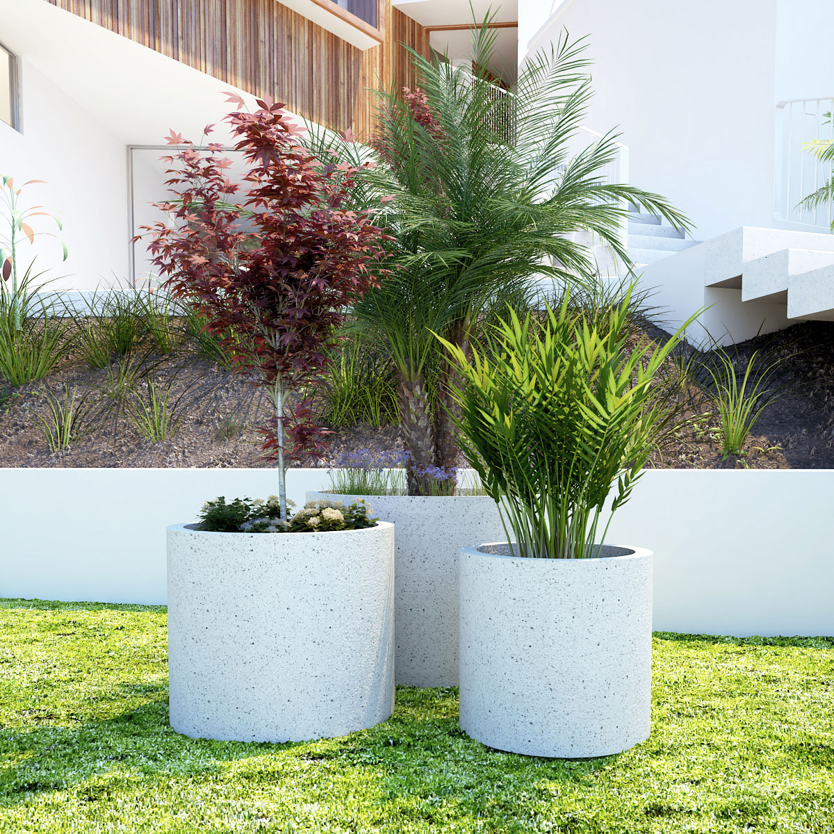 Anston circular straight-sided planters